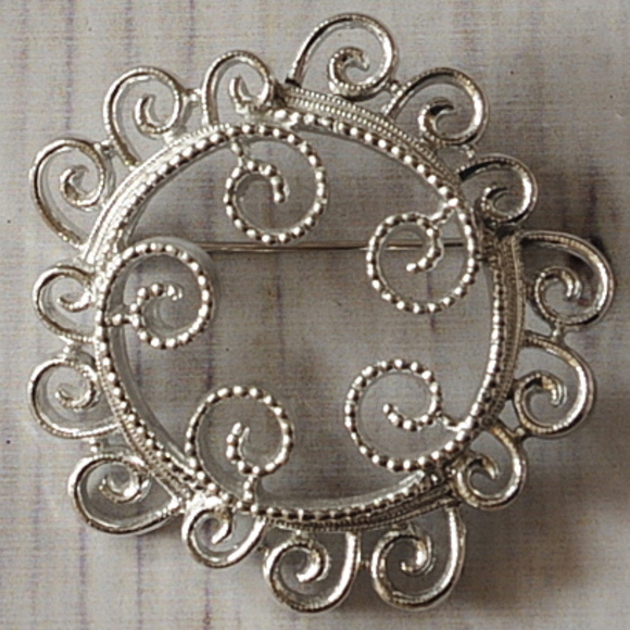 3198f2a02646 Vintage Jewelry | Sarah Coventry Silver Swirl Round Brooch Pin ...